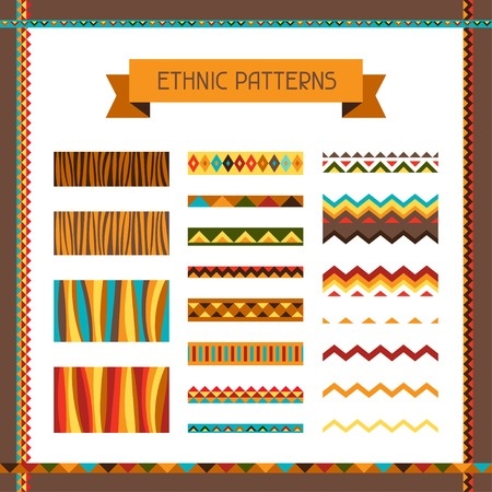 African ethnic seamless ornaments and pattern brushes  Vector