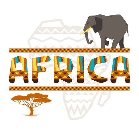 African ethnic background with geometric ornament and symbols  Vector