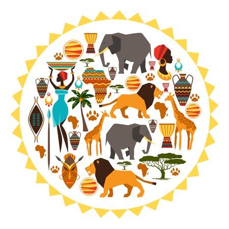 Afrikanischen ethnischen Hintergrund in Form der Sonne stilisierten Symbolen Standard-Bild - 29381712