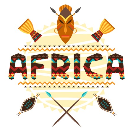 African ethnic background with geometric ornament and symbols