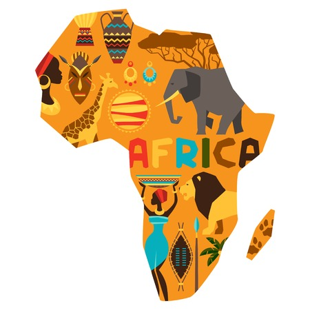 African ethnic background with illustration of map  Illustration