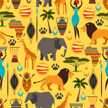 African ethnic seamless pattern with stylized icons  Vector