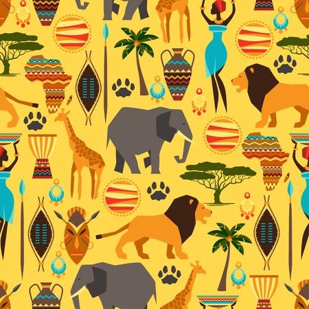 Seamless ethnique africaine avec des icônes stylisées