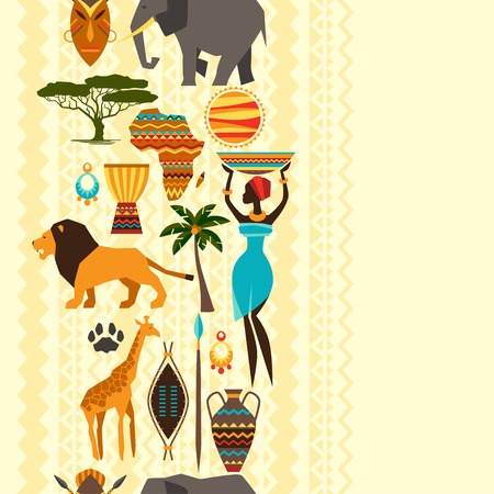 African ethnic seamless pattern with stylized icons  Иллюстрация
