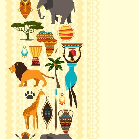 Modelo inconsútil de la etnia africana con iconos estilizados