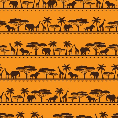 African ethnic seamless pattern in flat style  Vector