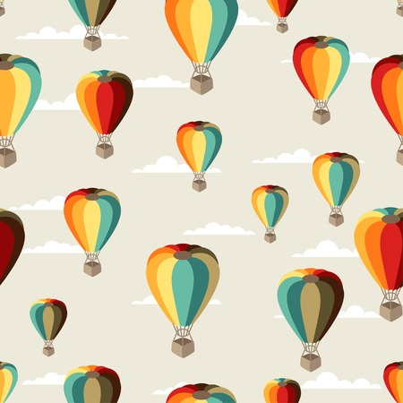 Seamless travel pattern of hot air balloons. Vector
