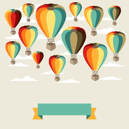 adventure aeronautical: Background of hot air balloons and clouds. Illustration