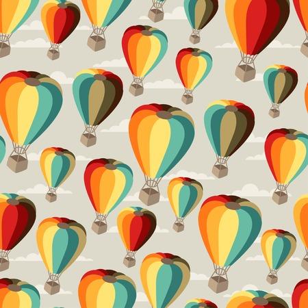 hot air ballon: Seamless travel pattern of hot air balloons.