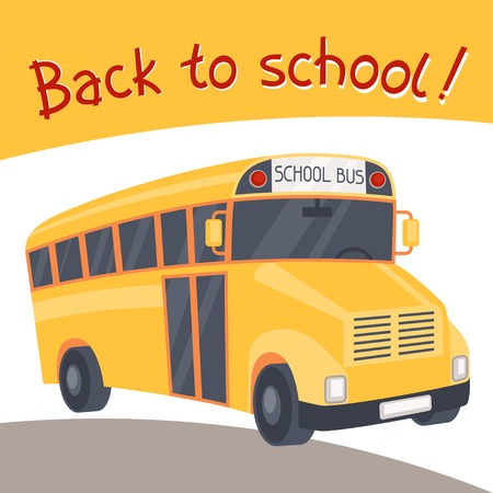 Back to school background with illustration of yellow bus. Vector