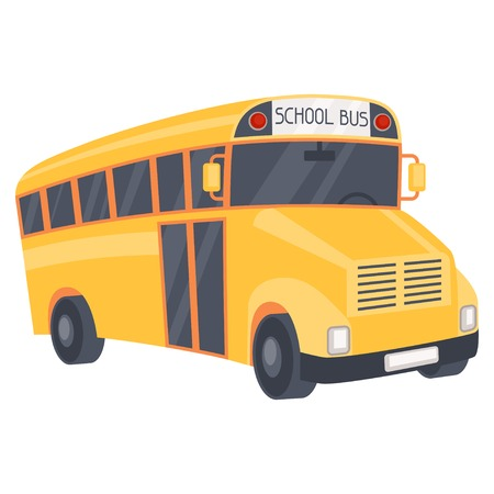 Illustration of yellow school bus in cartoon style. Vector