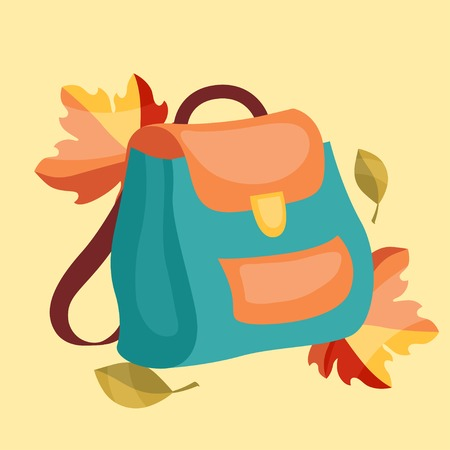 Book bag, backpack, school bag with autumn leaves. Vector