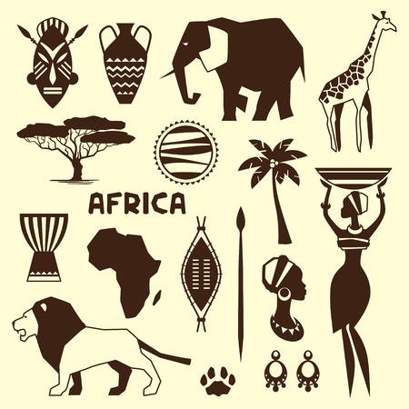 continente africano: Conjunto de iconos de estilo étnico africano en estilo plano.