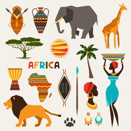 Conjunto de iconos de estilo étnico africano en estilo plano.