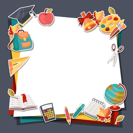 apple paper bag: School background with education sticker icons and symbols  Illustration
