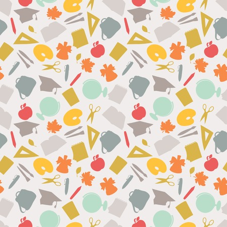 School seamless pattern with education icons and symbols  Vector