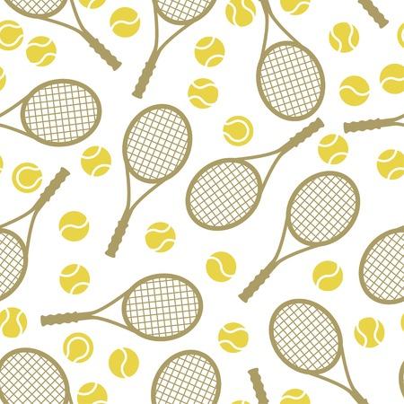 raqueta de tenis: Deportes sin patrón, con iconos de tenis en el estilo de diseño plano