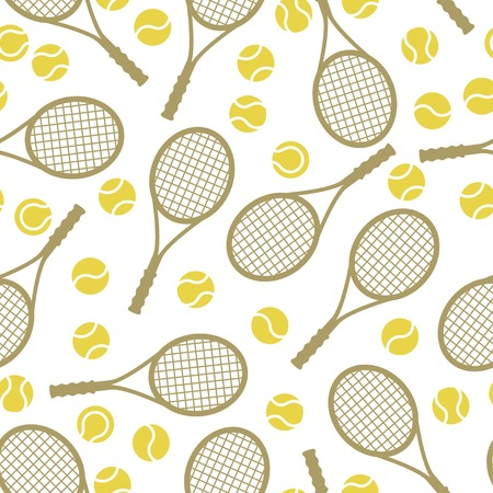 Sports seamless pattern with tennis icons in flat design style  Vector