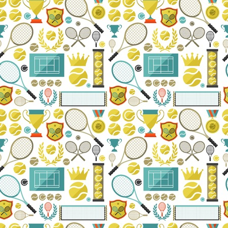 tennis stadium: Sports seamless pattern with tennis icons in flat design style