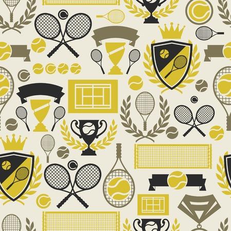 Arbore seamless pattern avec des icônes de tennis dans un style design plat