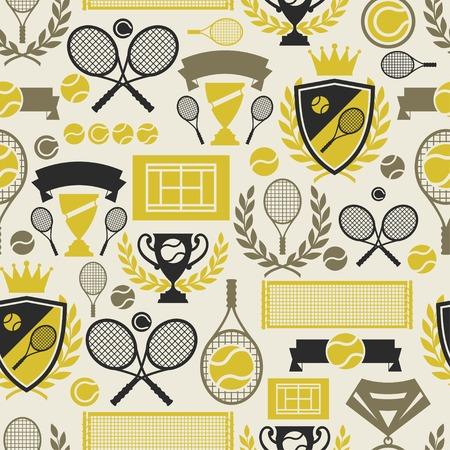 racket stadium: Sports seamless pattern with tennis icons in flat design style