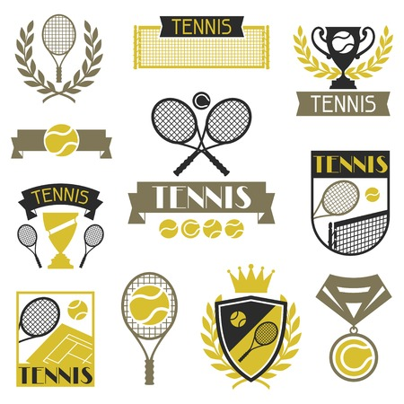 racket sport: Tennis banners, ribbons and badges with icons  Illustration