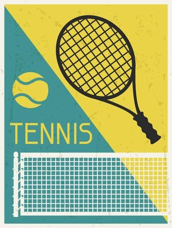 tennis stadium: Tennis  Retro poster in flat design style