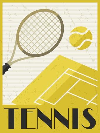 평면 디자인 스타일의 테니스 복고풍 포스터 일러스트