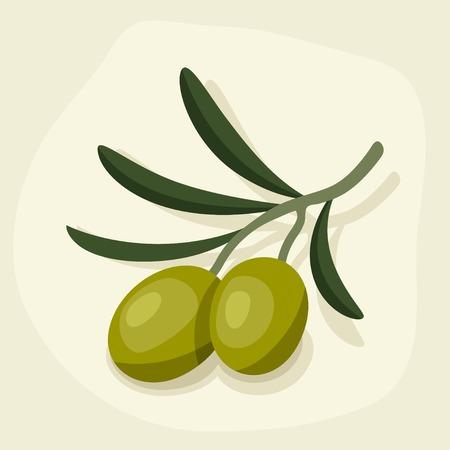 fresh produce: Stylized vector illustration of fresh ripe olive branch