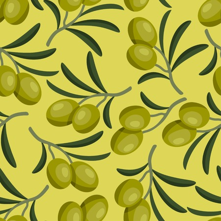 agriculture wallpaper: Seamless vector pattern with fresh ripe olive branches