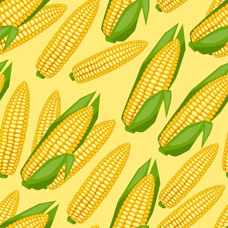 Seamless vector pattern with fresh ripe corn cobs  Vector