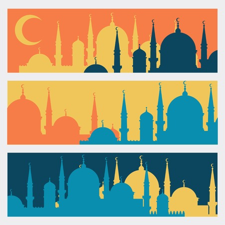 horizontal banner: Horizontal banners with Islamic mosques in flat design style  Illustration