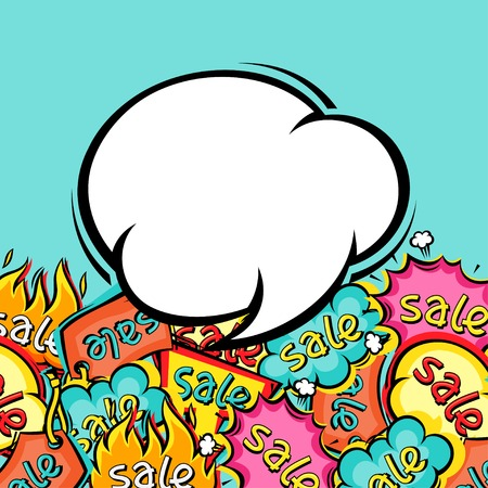 bubble background: Vendita comico sfondo fumetto in stile cartone animato
