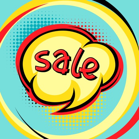 Sale comic speech bubble background in cartoon style  Illustration