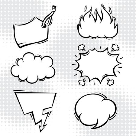Set of comic speech bubbles in cartoon style  Vector