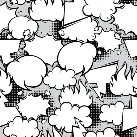 Seamless pattern of comic speech bubbles in cartoon style  Vector