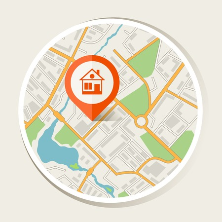 City map abstract background with marker home  Illustration
