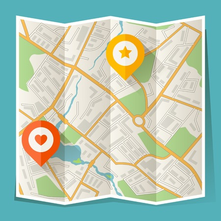 elhelyezkedés: Absztrakt város hajtogatott térképe a helyzetjelzőt
