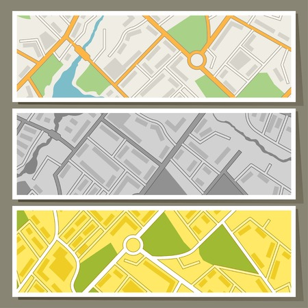 City map abstract horizontal banners vector background  Vector