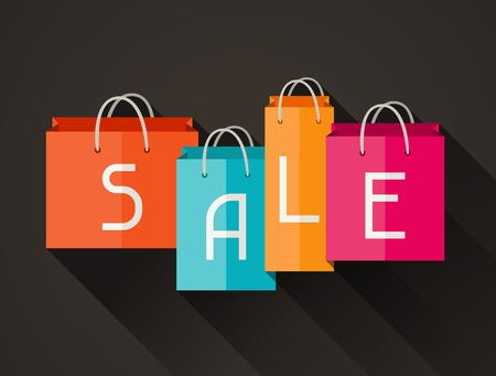 print shop: Sale poster with shopping bags in flat design style  Illustration