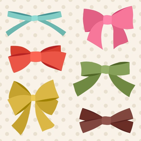 ribbons and bows: Set of various abstract bows and ribbons