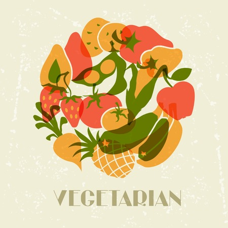 agriculture industry: Vegetarian food  Background design with stylized vegetables