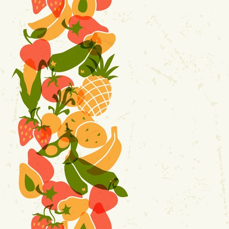 Vegetarian food  Background design with stylized vegetables  Vector