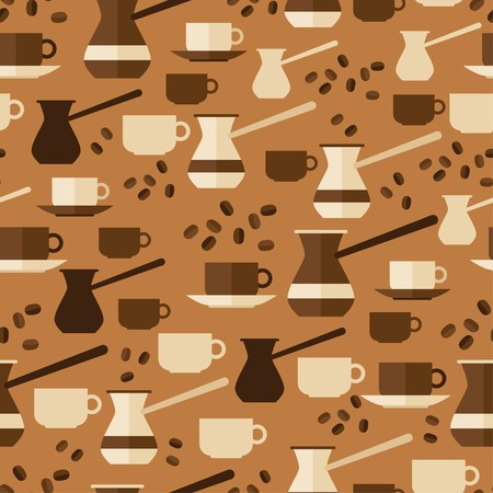 Seamless pattern with coffee icons in flat design style  Vector