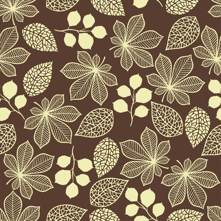 Seamless pattern with stylized autumn leaves  Ilustração