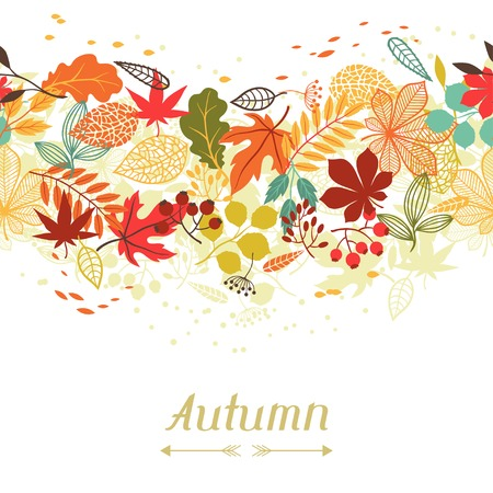 autumn garden: stylized autumn leaves for greeting cards