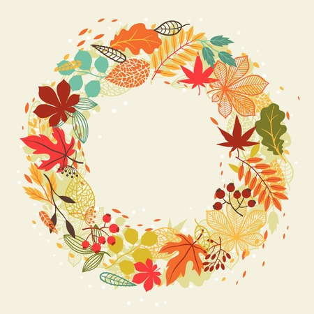 autumn leaves in shape for greeting cards  Vector