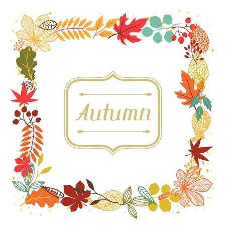 Blätter im Herbst in Form für Grußkarten Illustration