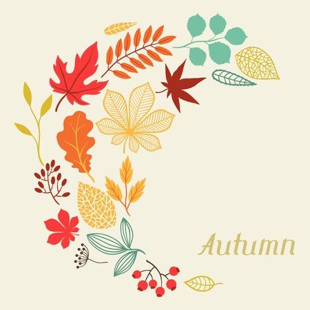 グリーティング カードの形の秋の紅葉