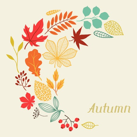 autumn garden: autumn leaves in shape for greeting cards